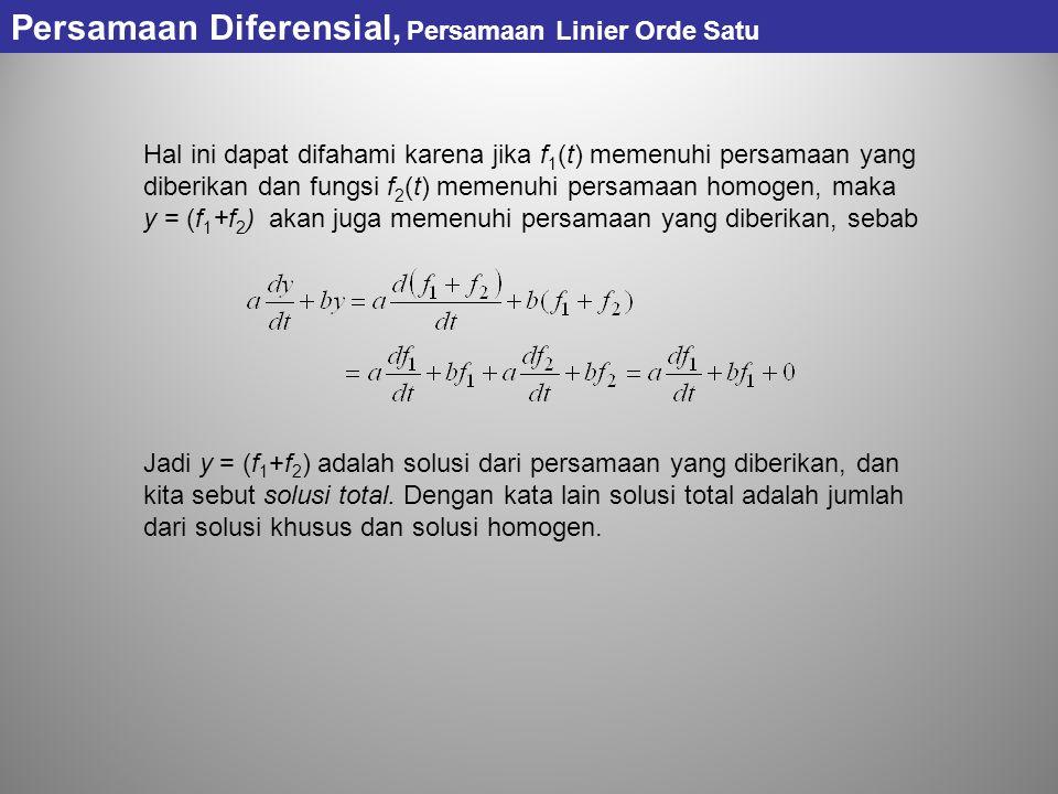 Persamaan Diferensial, Persamaan Linier Orde Satu Hal ini dapat difahami karena jika f 1 (t) memenuhi persamaan yang diberikan dan fungsi f 2 (t) meme