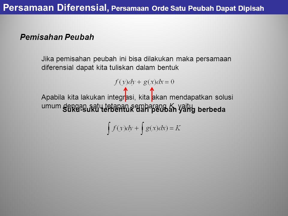 Persamaan Diferensial, Persamaan Orde Satu Peubah Dapat Dipisah Pemisahan Peubah Jika pemisahan peubah ini bisa dilakukan maka persamaan diferensial d