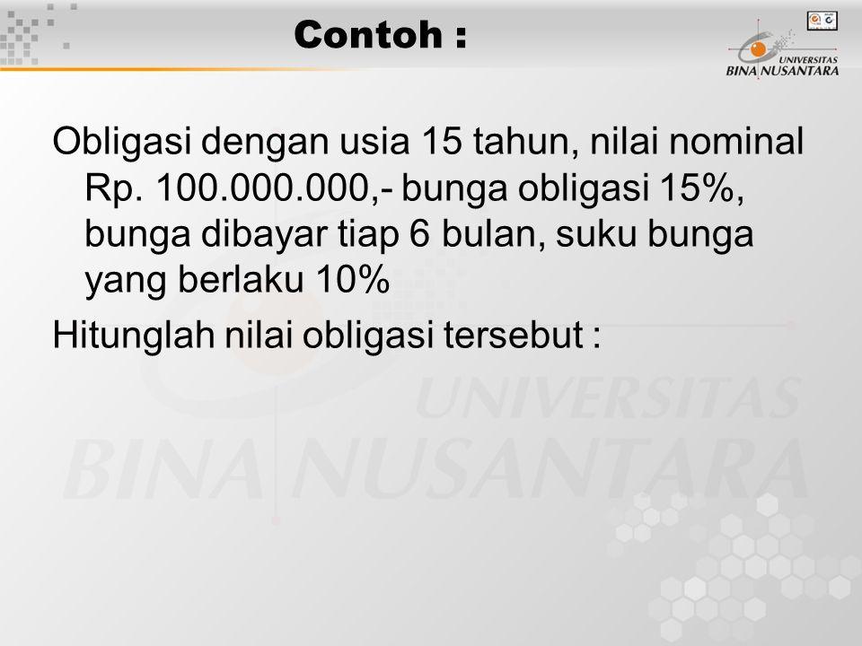 Contoh : Obligasi dengan usia 15 tahun, nilai nominal Rp.