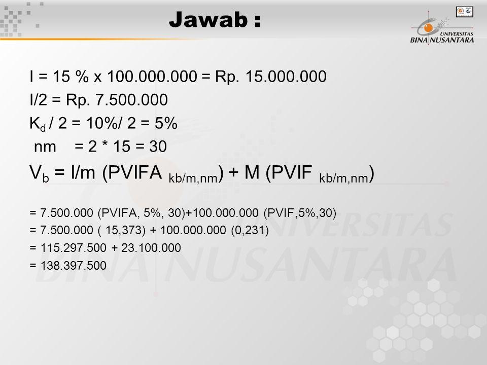 Jawab : I = 15 % x 100.000.000 = Rp.15.000.000 I/2 = Rp.