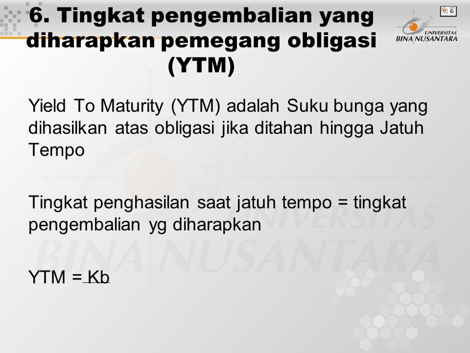 6. Tingkat pengembalian yang diharapkan pemegang obligasi (YTM) Yield To Maturity (YTM) adalah Suku bunga yang dihasilkan atas obligasi jika ditahan h