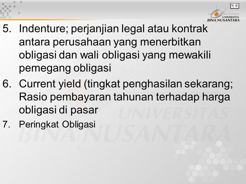 5.Indenture; perjanjian legal atau kontrak antara perusahaan yang menerbitkan obligasi dan wali obligasi yang mewakili pemegang obligasi 6.Current yield (tingkat penghasilan sekarang; Rasio pembayaran tahunan terhadap harga obligasi di pasar 7.Peringkat Obligasi
