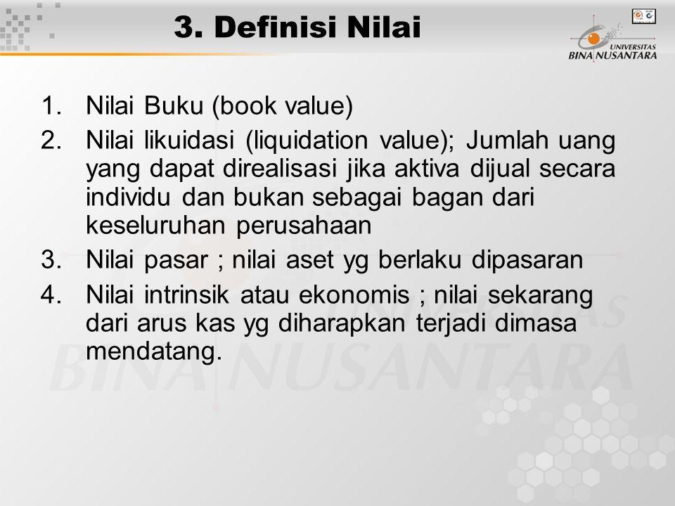 3. Definisi Nilai 1.Nilai Buku (book value) 2.Nilai likuidasi (liquidation value); Jumlah uang yang dapat direalisasi jika aktiva dijual secara indivi
