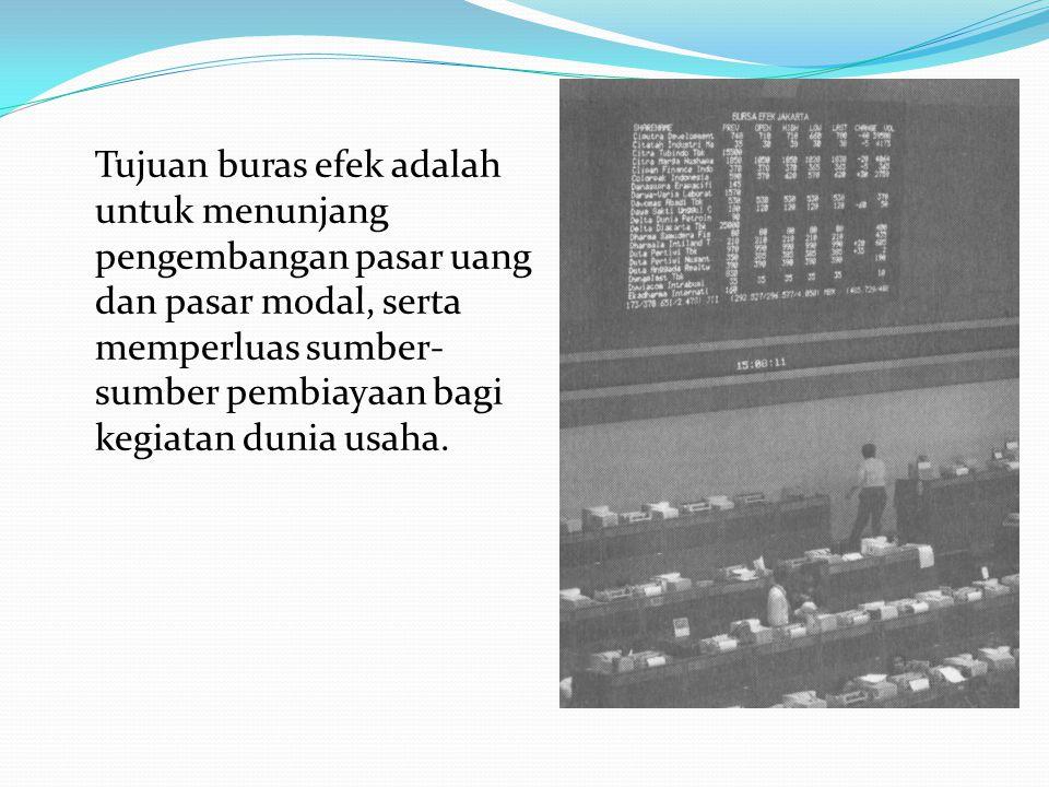 6.Bursa Efek Adalah tempat bertemunya pihak yang menawarkan dan pihak yang memerlukan dana jangka panjang dan tempat diperdagangkan afek-efek. Efek ad