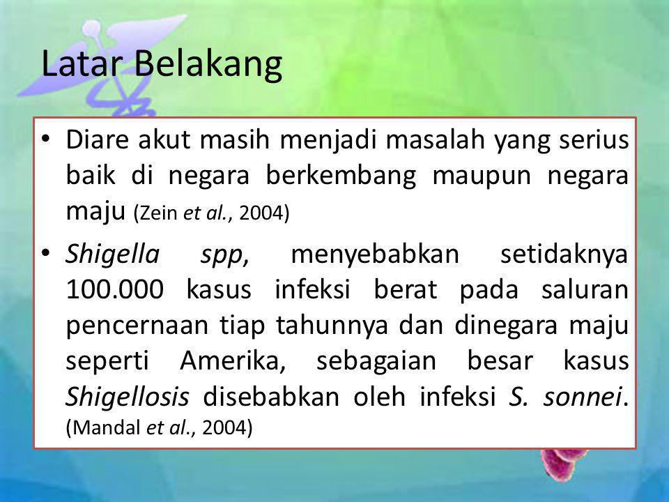 • Di negara-negara ASEAN terdapat bakteri dari jenis Shigella sonnei yang resisten terhadap beberapa antimikroba, diantaranya tetracycline, sulfamethoxazole-trimethropin, dan asam nalidixic (Arai et al., 2007).