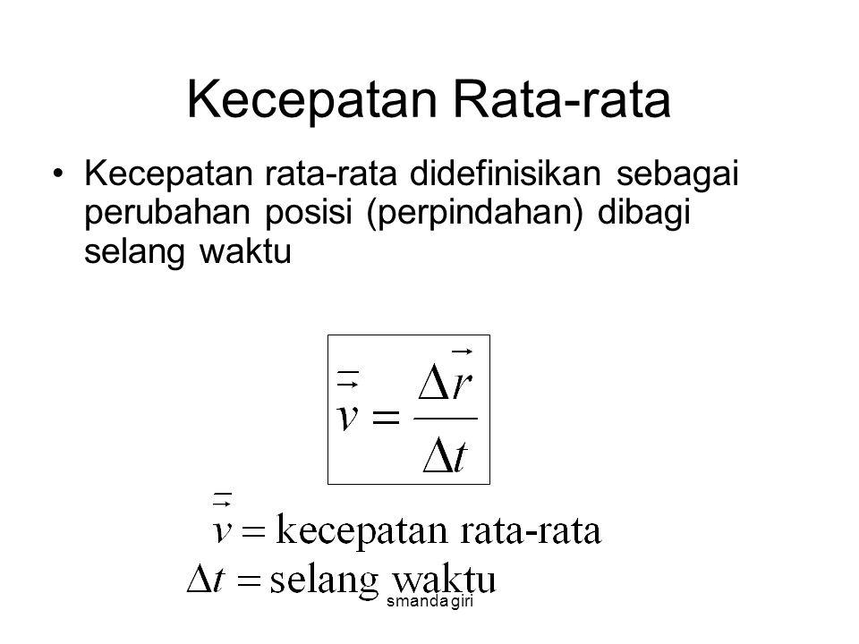 smanda giri Kecepatan Rata-rata •Kecepatan rata-rata didefinisikan sebagai perubahan posisi (perpindahan) dibagi selang waktu