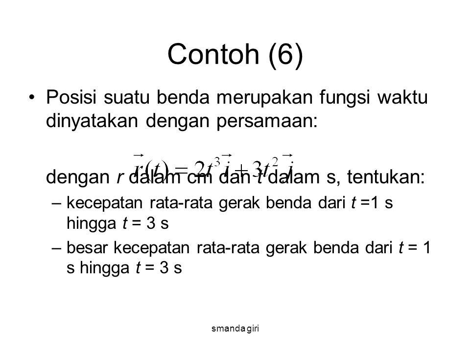 smanda giri Contoh (6) •Posisi suatu benda merupakan fungsi waktu dinyatakan dengan persamaan: dengan r dalam cm dan t dalam s, tentukan: –kecepatan r