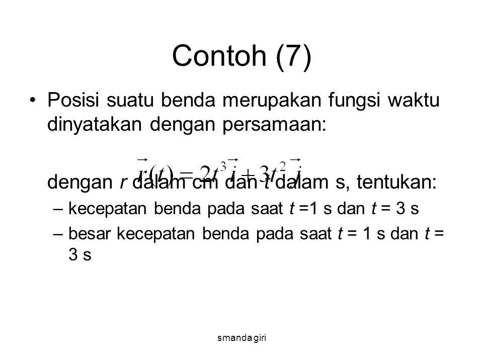 smanda giri Contoh (7) •Posisi suatu benda merupakan fungsi waktu dinyatakan dengan persamaan: dengan r dalam cm dan t dalam s, tentukan: –kecepatan b