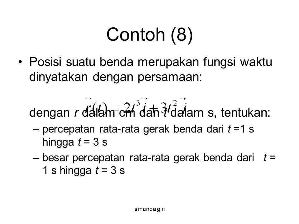 smanda giri Contoh (8) •Posisi suatu benda merupakan fungsi waktu dinyatakan dengan persamaan: dengan r dalam cm dan t dalam s, tentukan: –percepatan