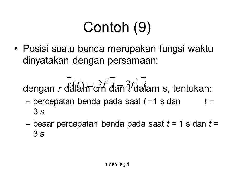 smanda giri Contoh (9) •Posisi suatu benda merupakan fungsi waktu dinyatakan dengan persamaan: dengan r dalam cm dan t dalam s, tentukan: –percepatan