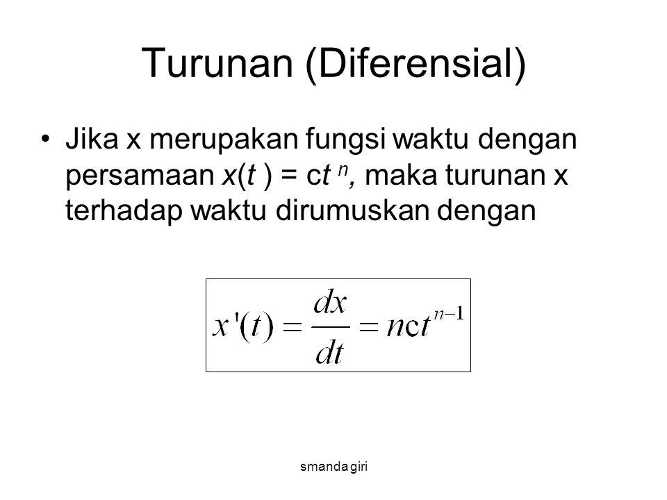 smanda giri Turunan (Diferensial) •Jika x merupakan fungsi waktu dengan persamaan x(t ) = ct n, maka turunan x terhadap waktu dirumuskan dengan