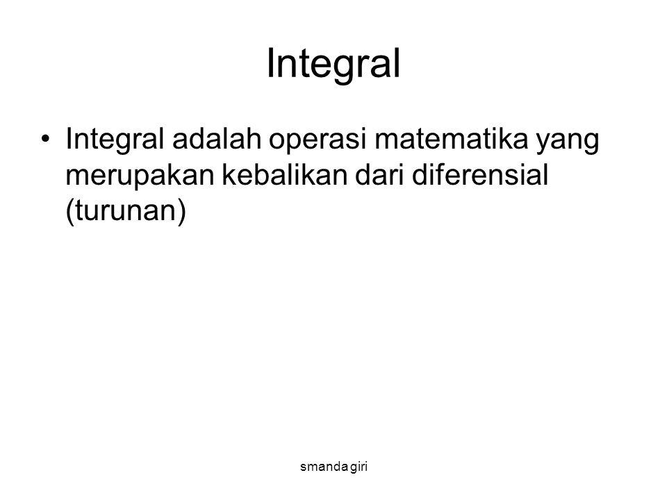 smanda giri Integral •Integral adalah operasi matematika yang merupakan kebalikan dari diferensial (turunan)