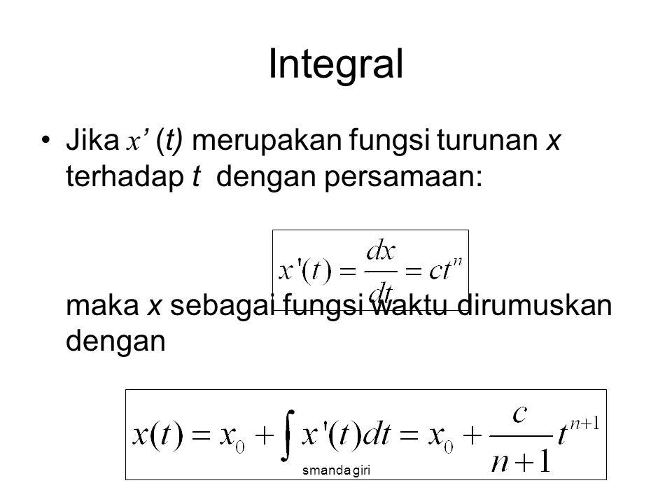 smanda giri Integral •Jika x ' (t) merupakan fungsi turunan x terhadap t dengan persamaan: maka x sebagai fungsi waktu dirumuskan dengan