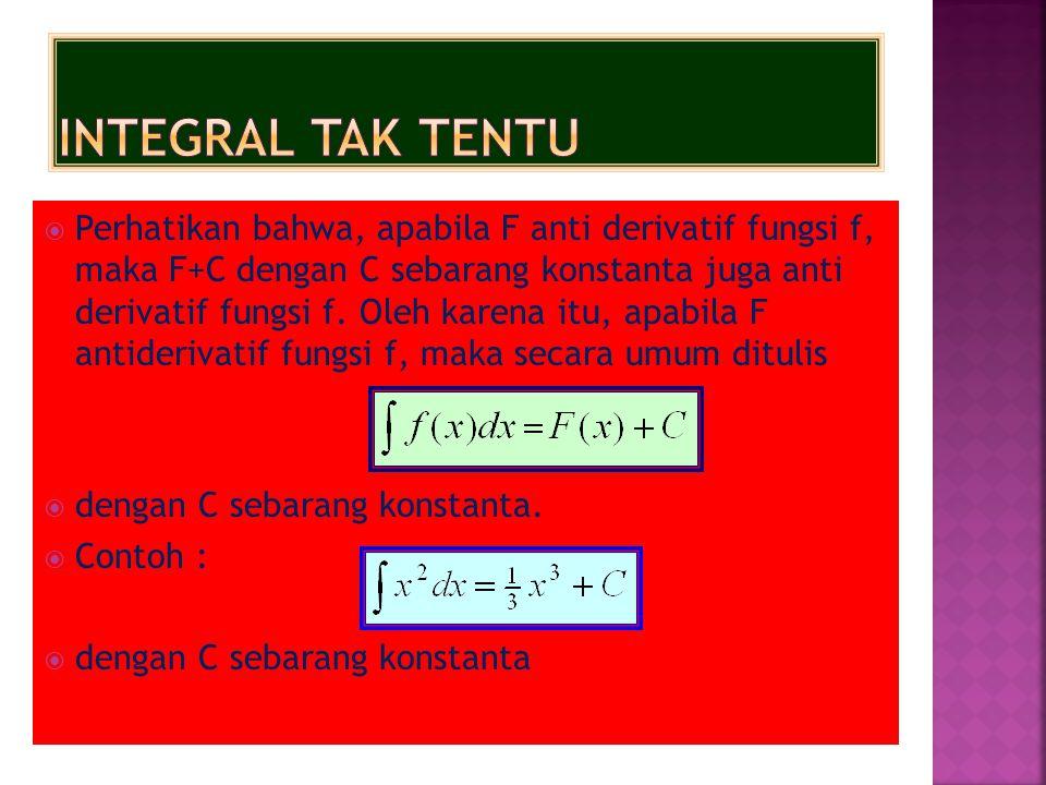  Perhatikan bahwa, apabila F anti derivatif fungsi f, maka F+C dengan C sebarang konstanta juga anti derivatif fungsi f. Oleh karena itu, apabila F a