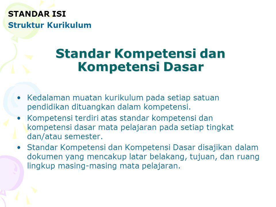 Standar Kompetensi dan Kompetensi Dasar •Kedalaman muatan kurikulum pada setiap satuan pendidikan dituangkan dalam kompetensi. •Kompetensi terdiri ata