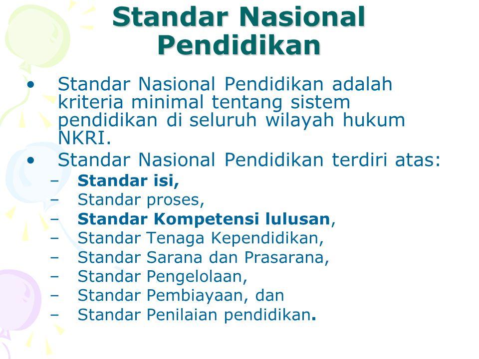 Standar Nasional Pendidikan •Standar Nasional Pendidikan adalah kriteria minimal tentang sistem pendidikan di seluruh wilayah hukum NKRI. •Standar Nas
