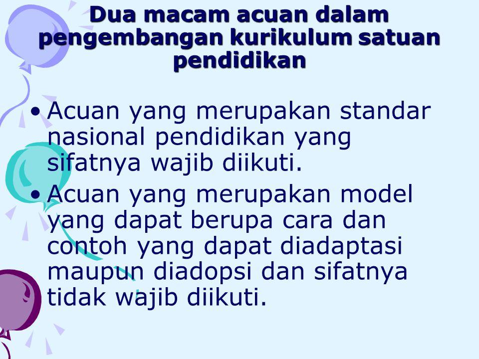 Dua macam acuan dalam pengembangan kurikulum satuan pendidikan •Acuan yang merupakan standar nasional pendidikan yang sifatnya wajib diikuti. •Acuan y