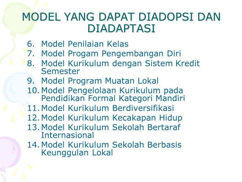 MODEL YANG DAPAT DIADOPSI DAN DIADAPTASI 6.Model Penilaian Kelas 7.Model Progam Pengembangan Diri 8.Model Kurikulum dengan Sistem Kredit Semester 9.Mo