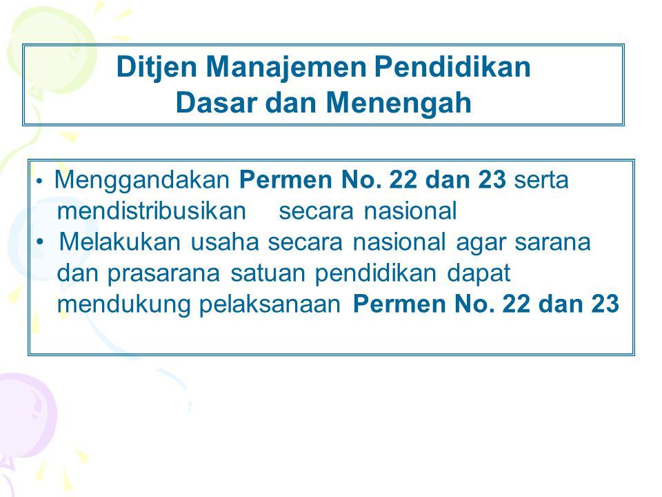 Ditjen Manajemen Pendidikan Dasar dan Menengah • Menggandakan Permen No. 22 dan 23 serta mendistribusikan secara nasional • Melakukan usaha secara nas