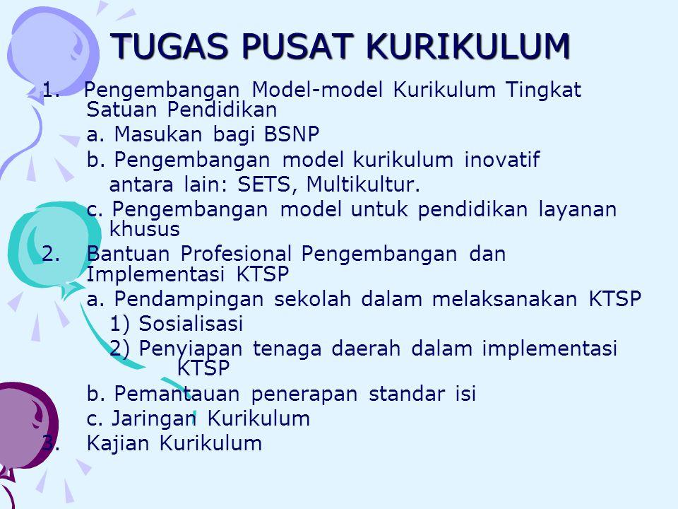 TUGAS PUSAT KURIKULUM 1. Pengembangan Model-model Kurikulum Tingkat Satuan Pendidikan a. Masukan bagi BSNP b. Pengembangan model kurikulum inovatif an