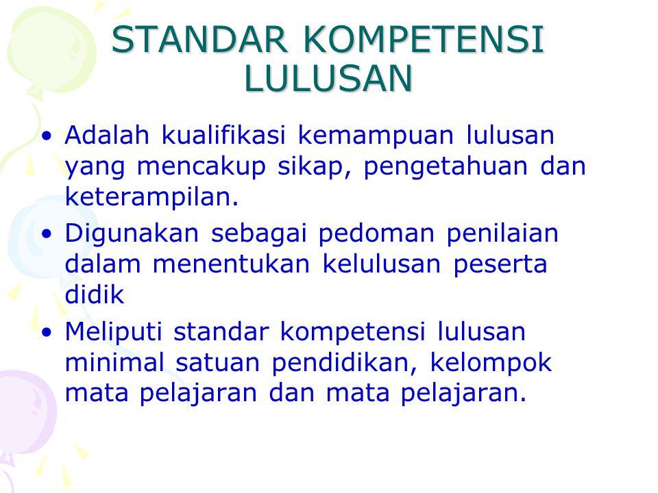 STANDAR KOMPETENSI LULUSAN •Adalah kualifikasi kemampuan lulusan yang mencakup sikap, pengetahuan dan keterampilan. •Digunakan sebagai pedoman penilai