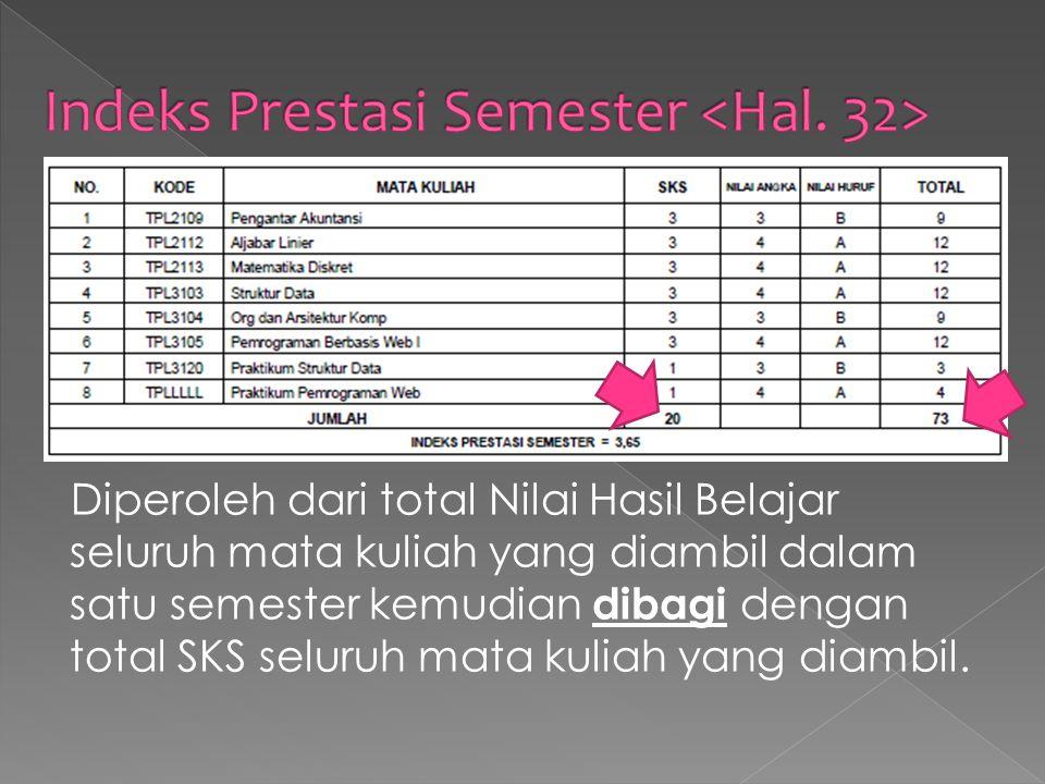 Diperoleh dari total Nilai Hasil Belajar seluruh mata kuliah yang diambil dalam satu semester kemudian dibagi dengan total SKS seluruh mata kuliah yang diambil.