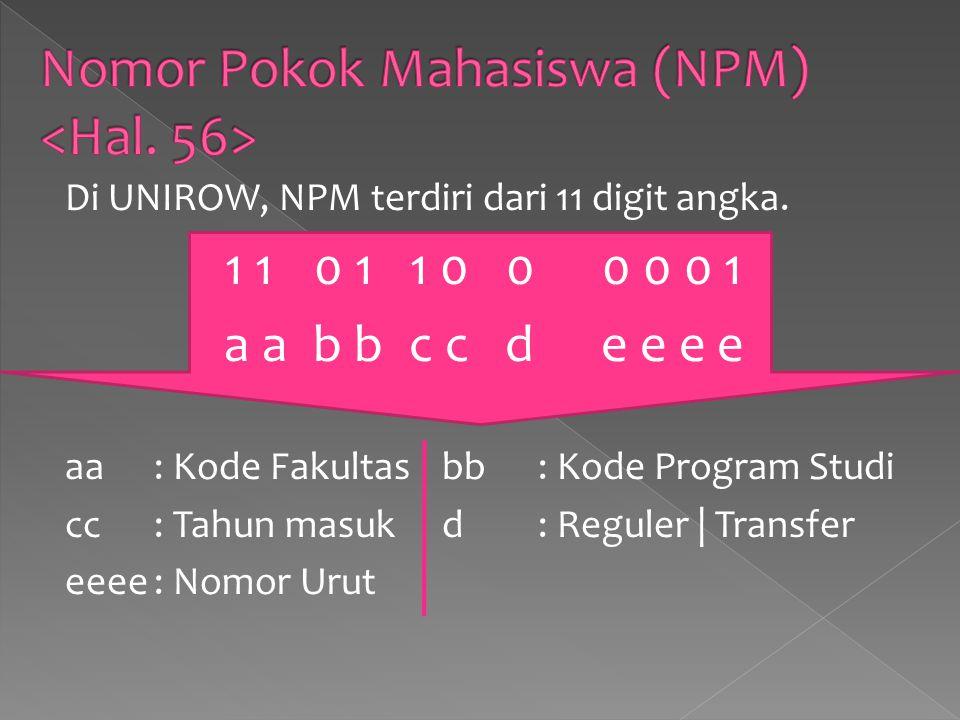Di UNIROW, NPM terdiri dari 11 digit angka.