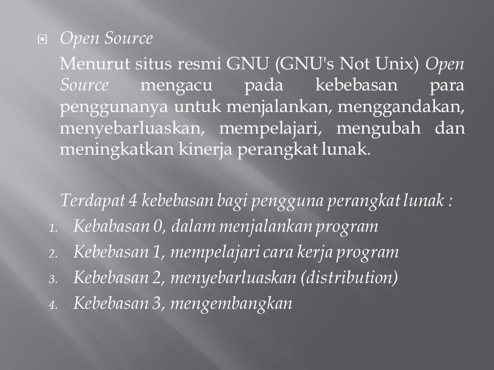  Open Source Menurut situs resmi GNU (GNU s Not Unix) Open Source mengacu pada kebebasan para penggunanya untuk menjalankan, menggandakan, menyebarluaskan, mempelajari, mengubah dan meningkatkan kinerja perangkat lunak.