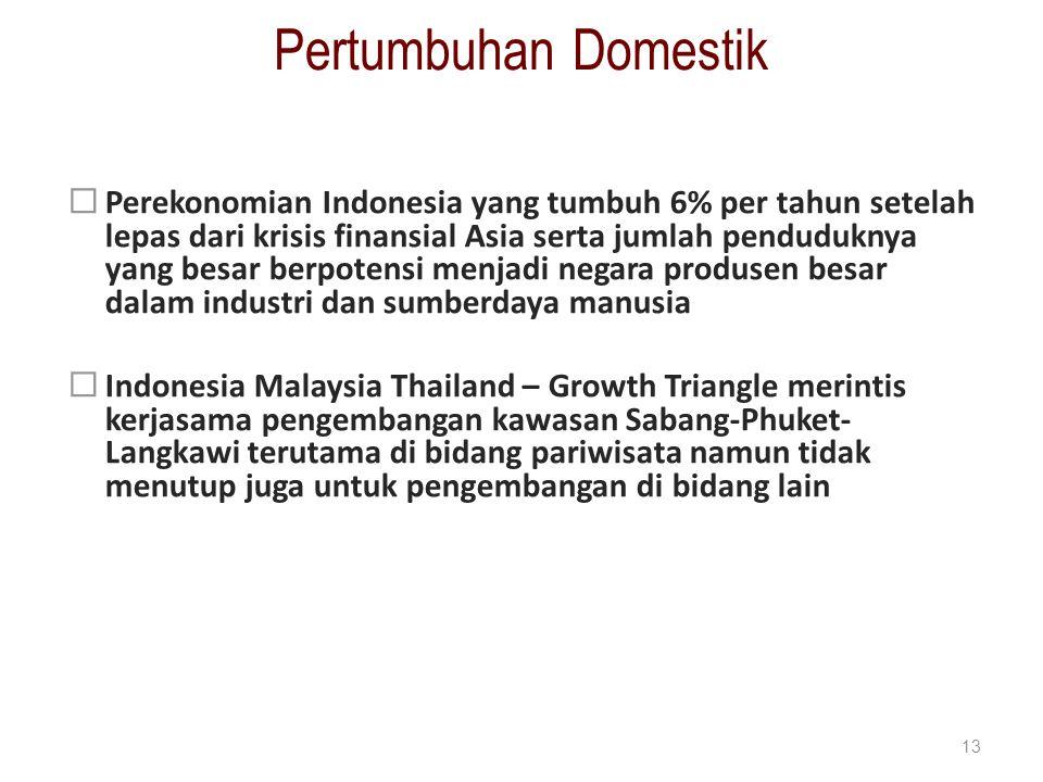 Pertumbuhan Domestik  Perekonomian Indonesia yang tumbuh 6% per tahun setelah lepas dari krisis finansial Asia serta jumlah penduduknya yang besar be