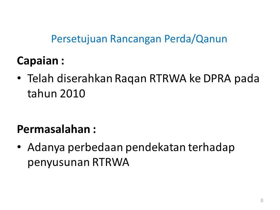 Persetujuan Rancangan Perda/Qanun Capaian : • Telah diserahkan Raqan RTRWA ke DPRA pada tahun 2010 Permasalahan : • Adanya perbedaan pendekatan terhad