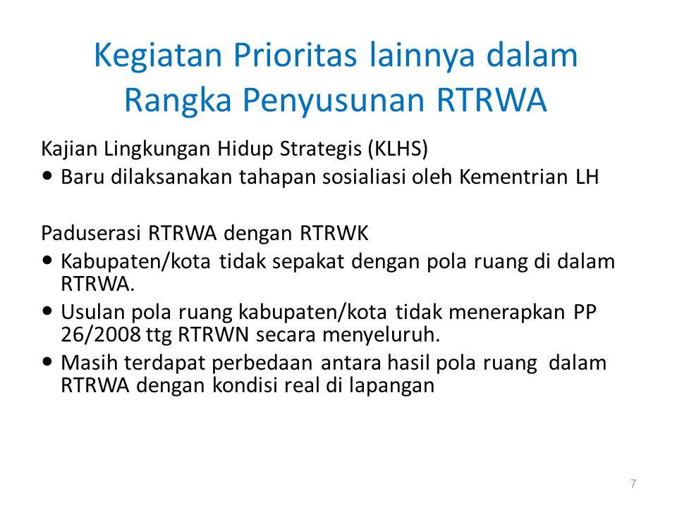 Kegiatan Prioritas lainnya dalam Rangka Penyusunan RTRWA Kajian Lingkungan Hidup Strategis (KLHS)  Baru dilaksanakan tahapan sosialiasi oleh Kementri