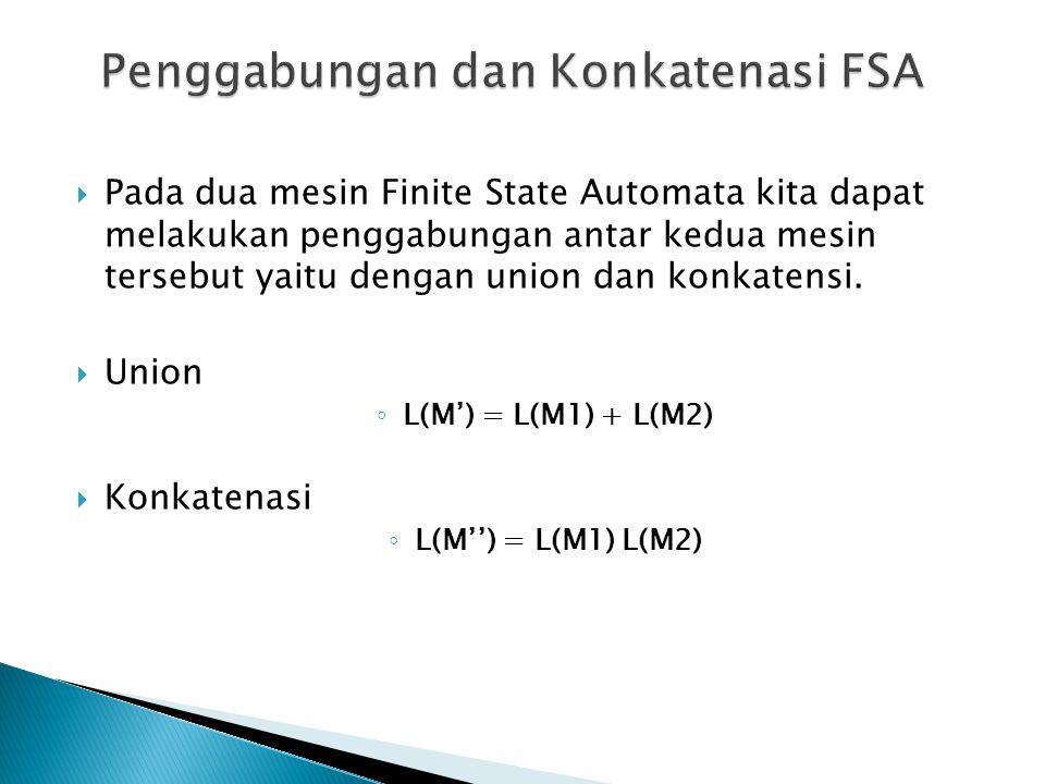  Pada dua mesin Finite State Automata kita dapat melakukan penggabungan antar kedua mesin tersebut yaitu dengan union dan konkatensi.  Union ◦ L(M')