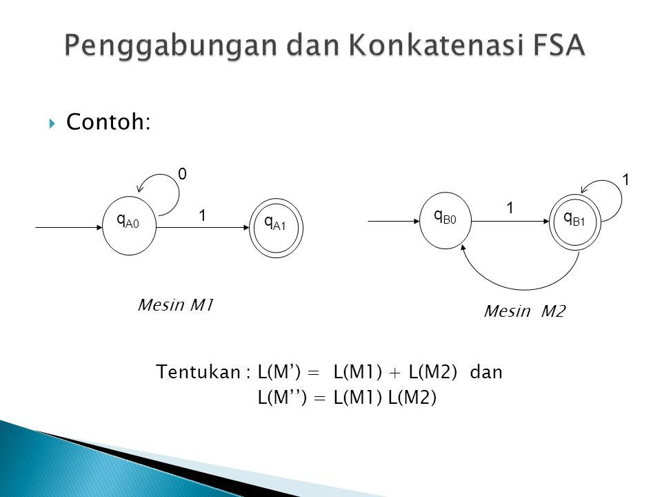  Contoh: q A1 q A0 0 1 Mesin M1 q B1 q B0 1 1 Mesin M2 Tentukan : L(M') = L(M1) + L(M2) dan L(M'') = L(M1) L(M2)