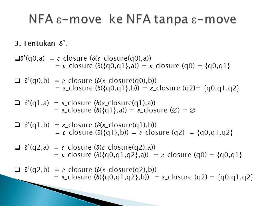3. Tentukan  ':   '(q0,a) =  _closure (  (  _closure(q0),a)) =  _closure (  (  q0,q1 ,a)) =  _closure (q0) =  q0,q1    '(q0,b) =  _clo