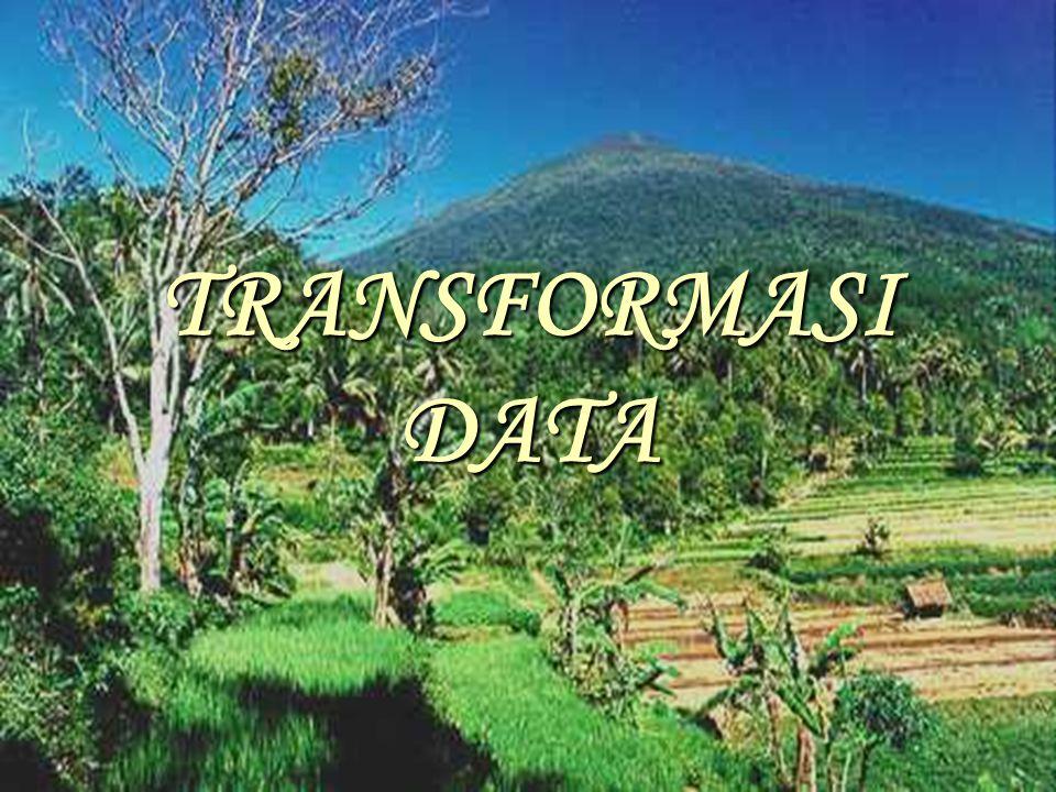 Beberapa pengertian 1.Transformasi  proses konversi data ke dalam skala baru agar memenuhi homogenitas ragam dan sebaran data menjadi normal.