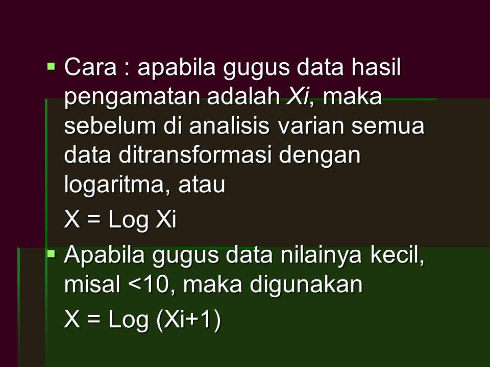  Cara : apabila gugus data hasil pengamatan adalah Xi, maka sebelum di analisis varian semua data ditransformasi dengan logaritma, atau X = Log Xi 