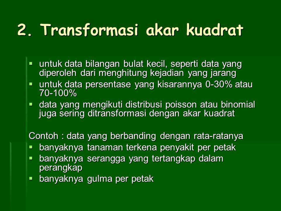 2. Transformasi akar kuadrat  untuk data bilangan bulat kecil, seperti data yang diperoleh dari menghitung kejadian yang jarang  untuk data persenta