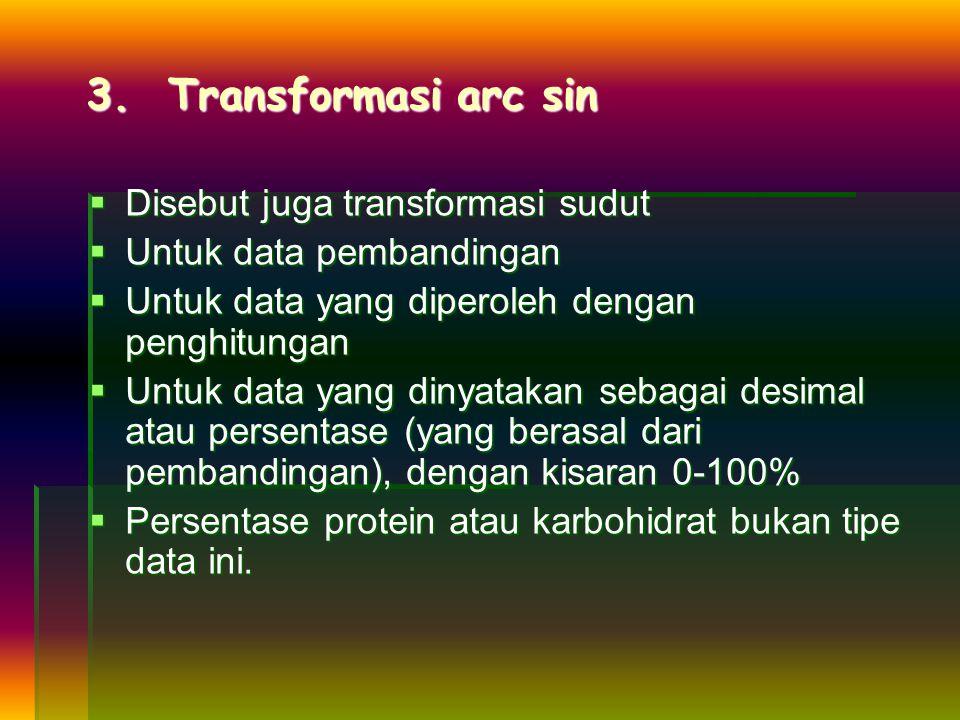 3. Transformasi arc sin  Disebut juga transformasi sudut  Untuk data pembandingan  Untuk data yang diperoleh dengan penghitungan  Untuk data yang