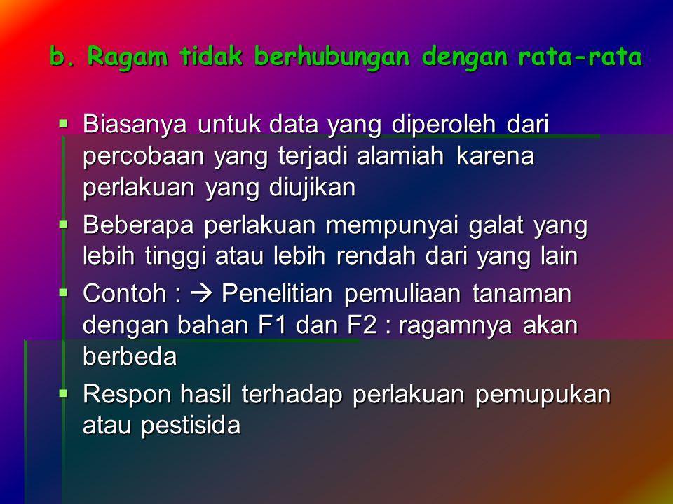 b. Ragam tidak berhubungan dengan rata-rata  Biasanya untuk data yang diperoleh dari percobaan yang terjadi alamiah karena perlakuan yang diujikan 