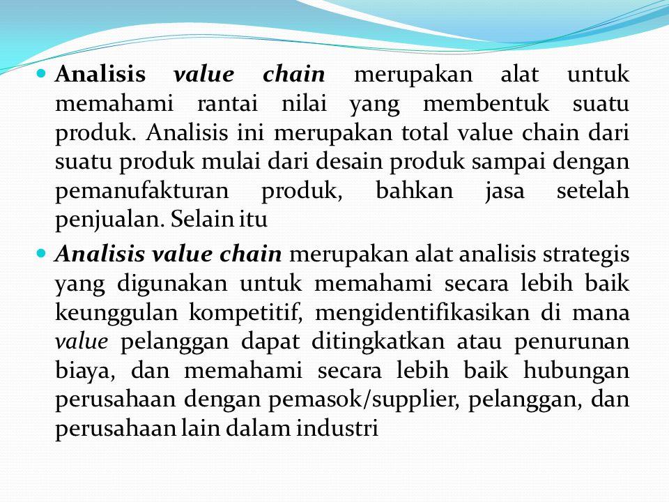  Analisis value chain merupakan alat untuk memahami rantai nilai yang membentuk suatu produk. Analisis ini merupakan total value chain dari suatu pro