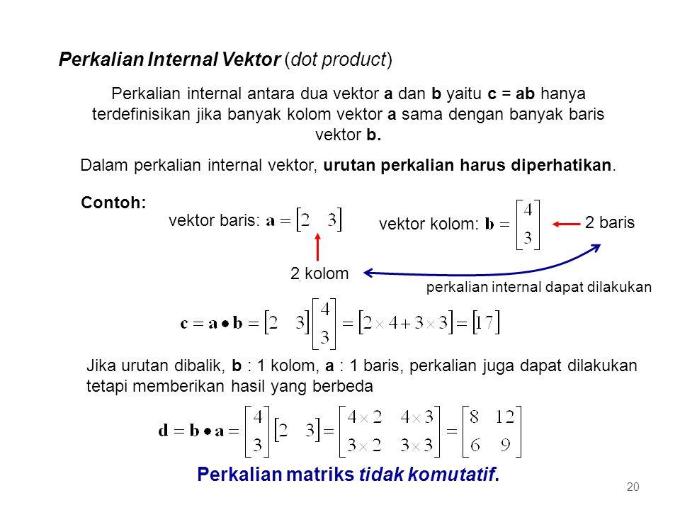 Perkalian Internal Vektor (dot product) vektor baris: vektor kolom:. Contoh: 2 kolom 2 baris Perkalian internal antara dua vektor a dan b yaitu c = ab