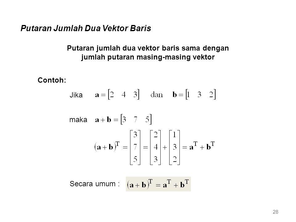 Putaran Jumlah Dua Vektor Baris Putaran jumlah dua vektor baris sama dengan jumlah putaran masing-masing vektor Jika maka Secara umum : Contoh: 28