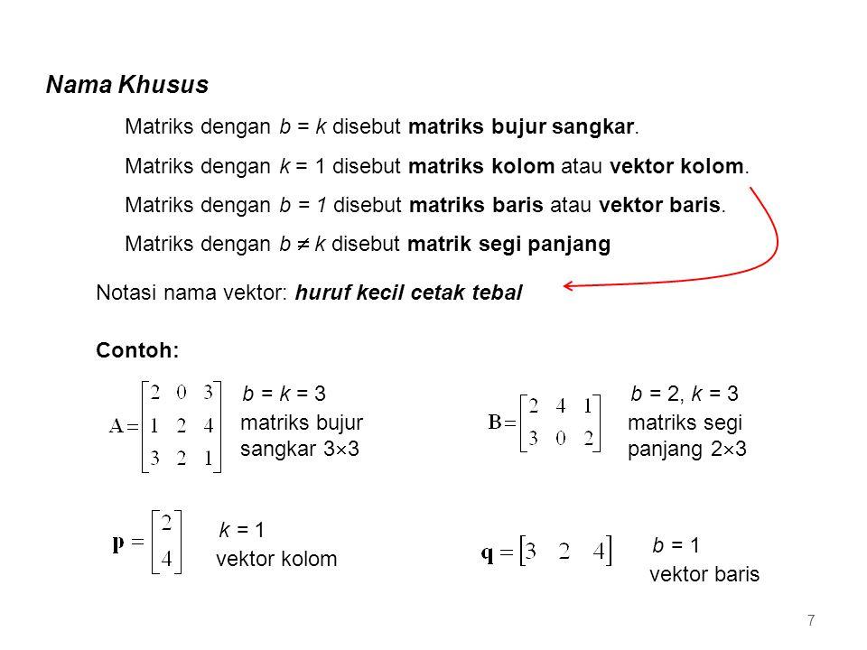 b = k = 3 matriks bujur sangkar 3  3 Nama Khusus Matriks dengan b = k disebut matriks bujur sangkar. Matriks dengan k = 1 disebut matriks kolom atau