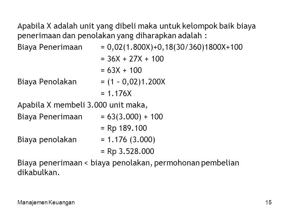 Manajemen Keuangan15 Apabila X adalah unit yang dibeli maka untuk kelompok baik biaya penerimaan dan penolakan yang diharapkan adalah : Biaya Penerima
