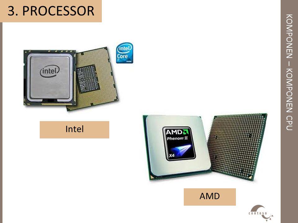 KOMPONEN – KOMPONEN CPU 3. PROCESSOR Intel AMD