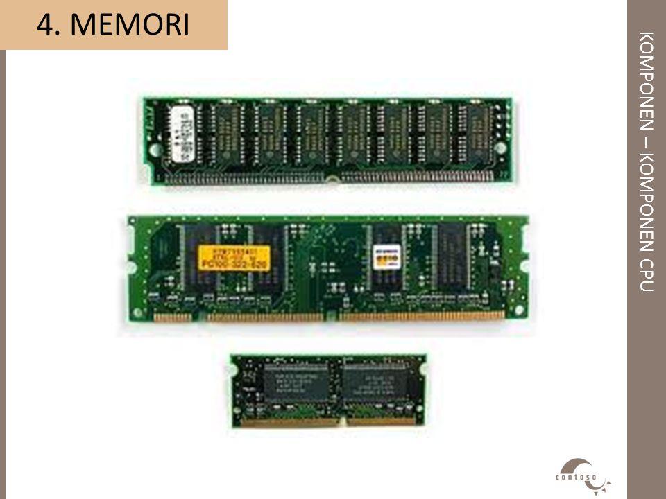 KOMPONEN – KOMPONEN CPU 4. MEMORI