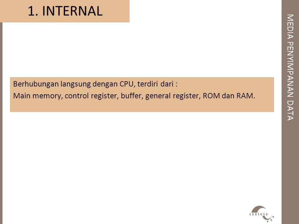 1. INTERNAL Berhubungan langsung dengan CPU, terdiri dari : Main memory, control register, buffer, general register, ROM dan RAM.