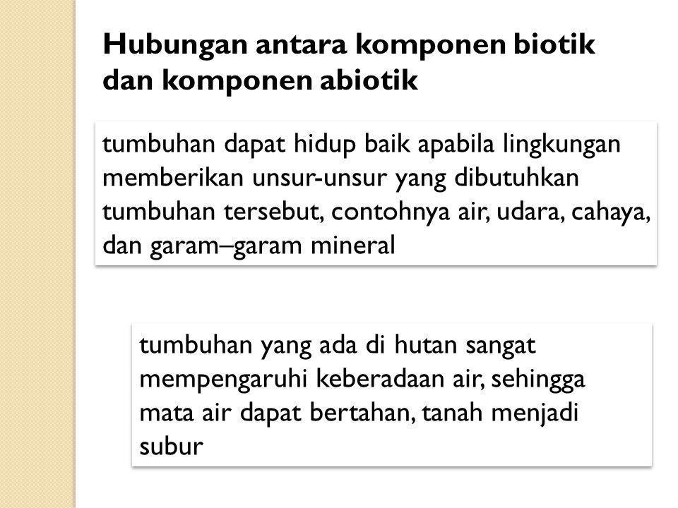 Hubungan antara komponen biotik dan komponen abiotik tumbuhan dapat hidup baik apabila lingkungan memberikan unsur-unsur yang dibutuhkan tumbuhan ters