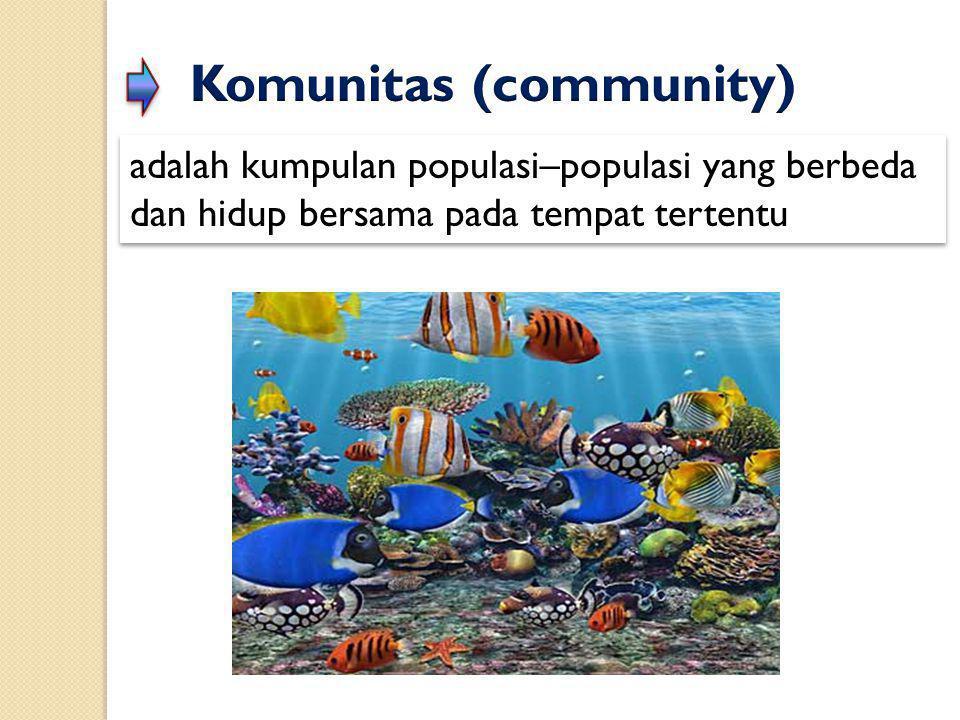 adalah kumpulan populasi–populasi yang berbeda dan hidup bersama pada tempat tertentu