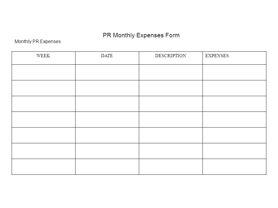 PR Monthly Expenses Form Monthly PR Expenses WEEKDATEDESCRIPTIONEXPENSES